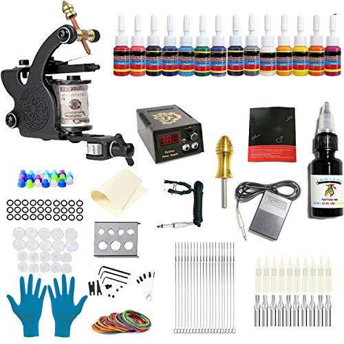 ANDNICE Complete Tattoo Kit Per Principianti 1 Macchinetta Per Tatuaggi 14 Inchiostri 1 Manico 20 Punte Per Ago Per Tatuaggio Alimentazione Elettrica TK-101