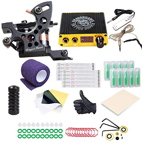 DragonHawk Starter Tattoo Kit Machines Top CE Power Supply K4EUYMX