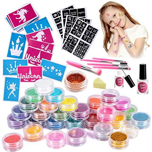 VAMEI Kit tatuaggi glitterati Kit tatuaggi temporanei Corpo Glitter Art, 30 colori glitter, 141 Stencil tatuaggio unico, 2 colla, 5 pennelli per bambini Ragazze Adulti