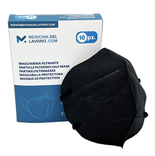 10 Mascherine FFP2 Nere Certificate CE, Mascherina 4 Strati Senza Valvola, Maschera Facciale di Protezione da Polvere e Polline, Face Mask Colorate, Alta Efficienza di Filtraggio BFE ≥95-10 Pezzi