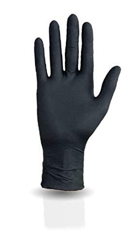 100 guanti monouso in nitrile in scatola dispenser, senza polvere, non sterili, di colore nero, usa e getta (XS)