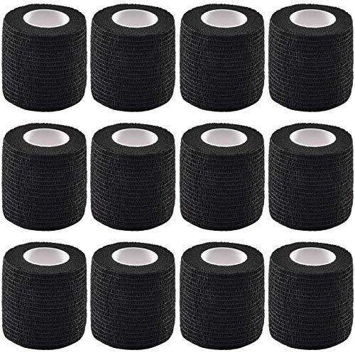 12 pezzi di copertura per impugnatura per tatuaggio elastico impermeabile autoadesivo nastro adesivo per bendaggi aderente per macchinetta per tatuaggio con impugnatura per tatuaggio, nero
