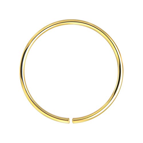 14k Giallo Oro 22 Gauge - 10mm Diametro Cerchio Aperto Continuo Senza Cuciture Naso Anello Piercing da Naso