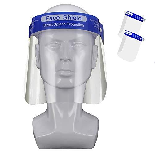 2 Pezzi Visiera Protettiva Regolabile ad Alta Trasparenza Plastica PET, Protezione per Viso Antiappannamento, Protective Face Shield (2 Pezzi)