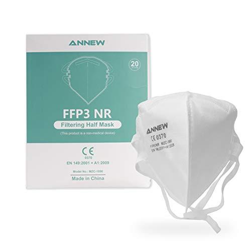 20X ANNEW FFP3 maschera protettiva bocca naso maschera protettiva respiratore maschera facciale, respiratore a 5 strati, maschera per adulti protezione bocca-naso con tessuto di alta qualità