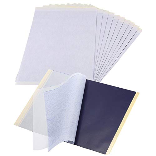 25 fogli di carta carbone - Carta per trasferimento di tatuaggi, Carta per tracciatura di tatuaggi in carta grafite, A4 Carta per stampa termica di tatuaggi temporanei in carbonio