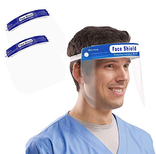 2x Visiere Facciali Di Sicurezza Para-Schizzi In Pet Riutilizzabile Leggere e Trasparenti. Protezione Massima per Occhi, Naso e Bocca. Permette l'utilizzo di occhiali.