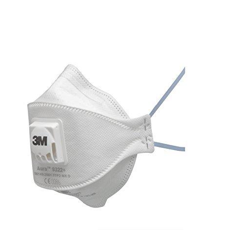 3M 9322+SP Respiratore Monouso con Valvola, FFP2 Nr D, 5 Pezzi, Bianco