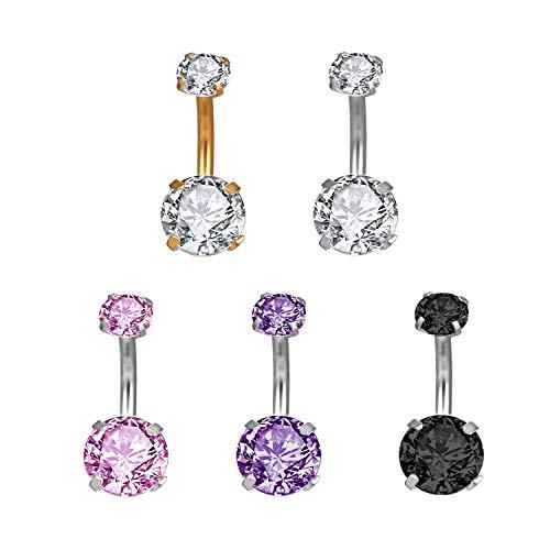 5 pezzi piercing all'ombelico in titanio piercing all'ombelico in acciaio inox anello all'ombelico body tasto dell'ombelico piercing all'ombelico in cristallo dq-2