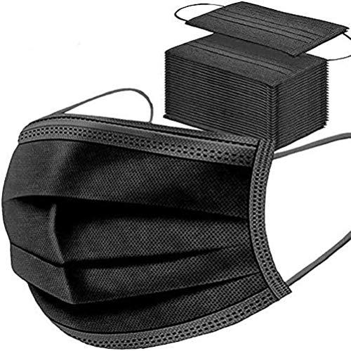 50 Mascherine Certificate CE Nere Chirurgiche mascherina maschere nera, traspiranti e traspiranti, elastici per le orecchie