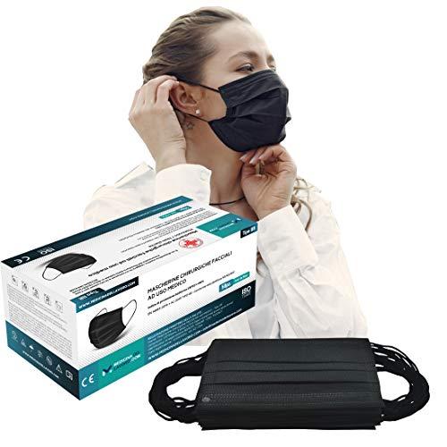 50 Mascherine Chirurgiche Nere Certificate CE per Uso Medico Tipo IIR, Alta Efficienza di Filtraggio BFE≥98, Mascherina a 3 Strati, Face Mask Colorate, Maschera Facciale Protettiva Viso - [50 Pezzi]