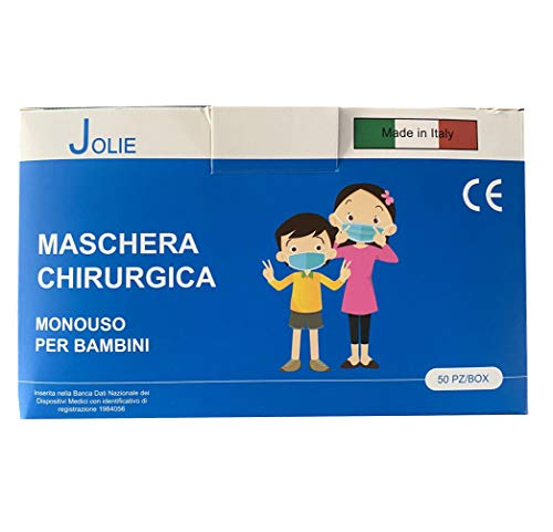 50 Mascherine Chirurgiche per bambini 3 Strati Dispositivo di Classe I Tipo II, Certificate CE, Confezione da 50 PZ Colore (Azzurro), nasello Regolabile, Elastici Leggeri