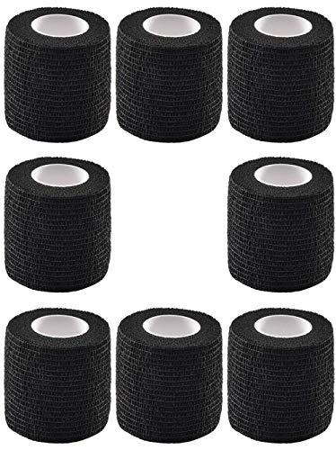 8 pezzi di copertura per impugnatura per tatuaggio elastico impermeabile autoadesivo nastro adesivo per bendaggi aderente per macchinetta per tatuaggio con impugnatura per tatuaggio, nero