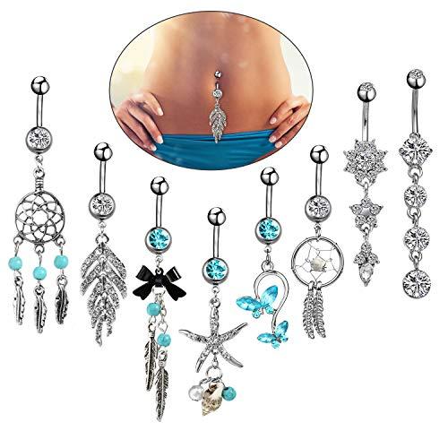8pcs piercing all'ombelico blu con set pendente lungo per donne ragazze, anello in argento 14G ciondola l'ombelico piercing, piercing all'ombelico bilanciere ombelico piercing intarsiato 10mm