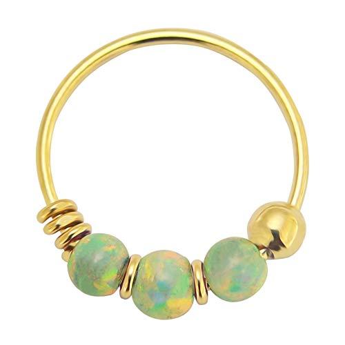 9K Giallo Oro Tripla Luce Verde Opale Bead 22 Gauge Hoop Naso Anello Piercing da Naso
