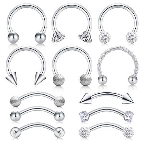 AceFun 16G Piercing Helix Orecchino Acciaio Chirurgico Piercing Naso Labbro Sopracciglia Anello Trago Cartilagine Daith Piercing 12 Pezzi