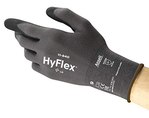 Ansell HyFlex 11-840 - Guanti da lavoro multiuso, multiuso, resistenti all'abrasione, per industriali e meccanici, colore: grigio/nero, taglia 11 (1 paio)