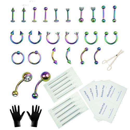 Aokbean 47 Pezzi Kit per Piercing Monili Penetranti del Corpo Acciaio Inossidabile 14G 16G Aghi da Piercing per Forniture per Piercing