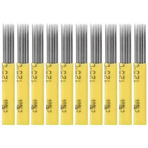 Artibetter 50 lame microblading aghi doppia fila croce piatta 9 pin-giallo