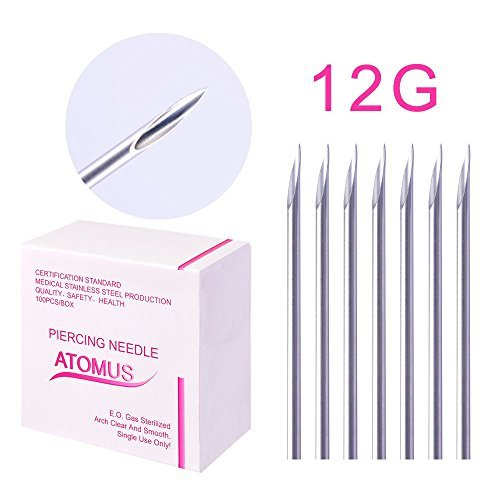ATOMUS - 100 aghi sterilizzati per piercing da 12 G, 14 G, 16 G, 18 G, 20 G, per orecchio, ombelico, capezzolo, aghi medici usa e getta, in acciaio inox