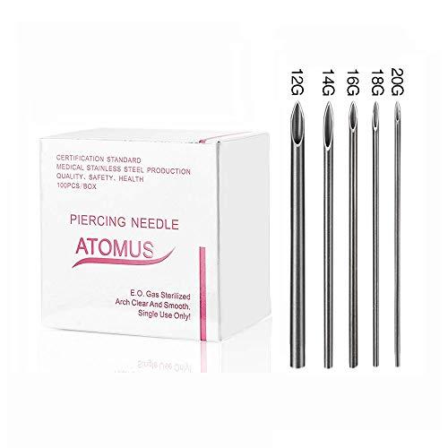 ATOMUS pz ago piercing misti 12 g 14 g 16 G 18 g 20 g Body piercing aghi sterili monouso Medical grade Tattoo accessori forniture
