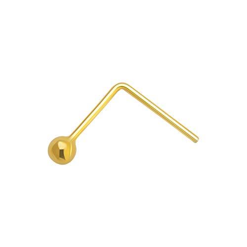 AZARIO LONDON - Piercing per naso a forma di sfera, in oro giallo 14 K, 22 gauge L e Oro giallo, cod. K41-MP-NS058-1.5MM