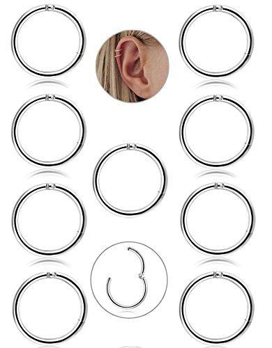 BESTEEL 9 Pz 16G in Acciaio Inox Piercing Naso Orecchini a Cerchio per Le Donne Ragazze Anello Piercing sul Naso del setto Lip Monili del Corpo 8mm