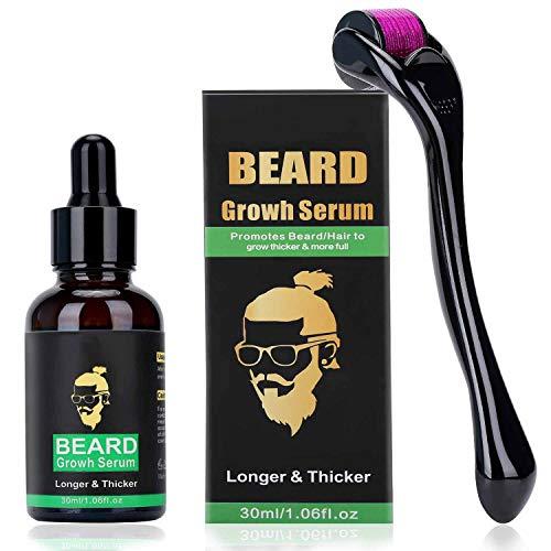 Bestfun, Dermaroller per il viso – microneedling – 540 micro aghi in titanio da 0,25 mm e olio di siero di crescita di Barba