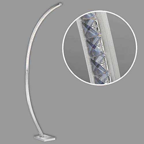 Briloner Leuchten - Lampada da pavimento a LED, lampada da terra con funzione dimmer continua, lampada ad arco con cristalli, 18 watt, 1.950 lumen, 3.000 Kelvin, alluminio spazzolato, 1.650x750mm(HxA)