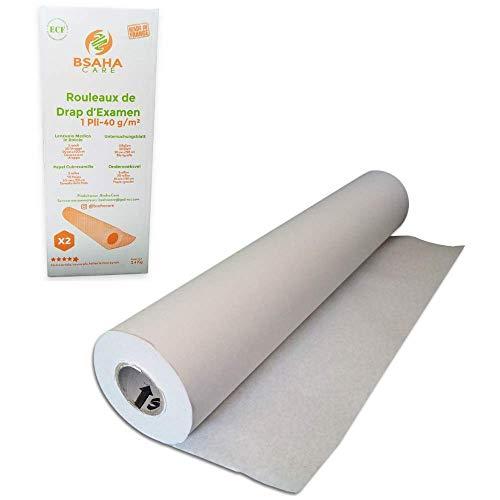 BSAHACARE - Lenzuolino medico 2 rotolo di carta medica da massaggio. Copri in carta lettino de estetica. Composizione di pura polpa vergine e riciclata - 50 cm x 120 cm - 1 veli 40g/m²