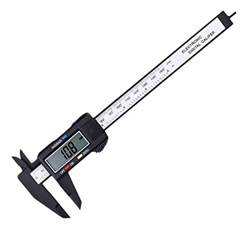 Calibro Vernier a corsoio digitale elettronico LCD con pinza in plastica e righello micrometrico in fibra di carbonio, strumento di misurazione, 100mm/150mm, 150mm 6inch, Plastic, 1