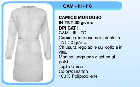 CAMICI MONOUSO IN TNT 30 GR/MQ (100)