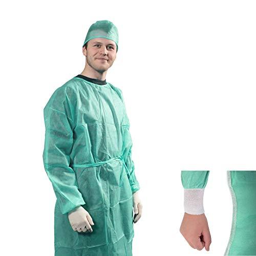 Camici Monouso Medici TNT 25 gr DM CLASSE I camice da lavoro usa e getta per Visitatore Paziente con elastici