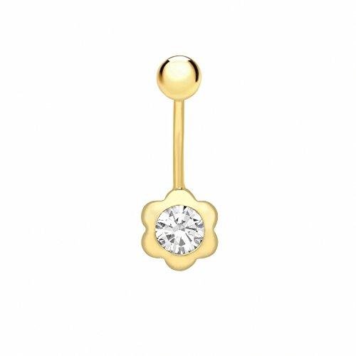 Carissima Gold - Piercing da Donna in Oro Giallo 9K (375) con Zirconia Cubica a Forma di Fiore