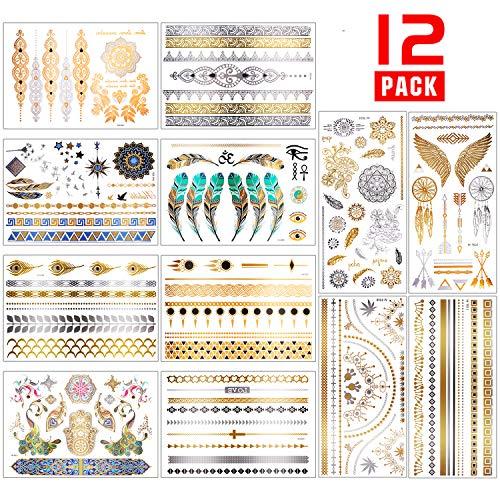Chefic 12 Fogli per Tatuaggio Temporaneo 200 Modelli, Carta per Tatuaggi Temporanei Impermeabile Colore Metallico Adesivi per Tatuaggi Temporanei, Tatuaggi Rimovibili per Adulti Donna, Uomo, Bambini