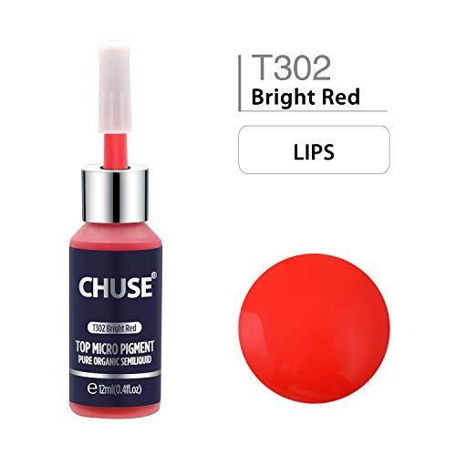 CHUSE T302 Inchiostro passivo di colore permanente di trucco del pigmento di Microblading micro rosso luminoso dell'inchiostro, DermaTest 12 ml (0.4fl.oz)