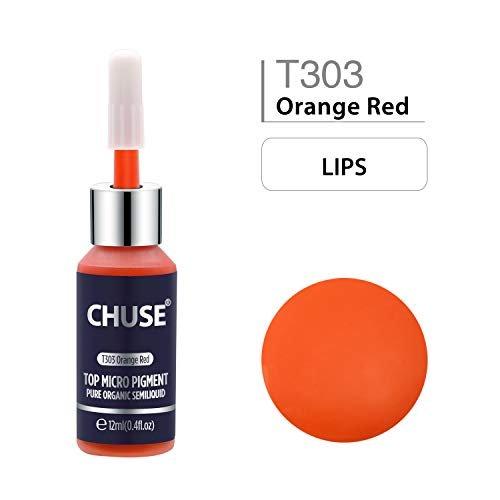 CHUSE T303 Inchiostro del tatuaggio permanente di trucco del pigmento di micro di Microblading arancio rosso inchiostro SGS passato di colore, DermaTest 12 ml (0.4fl.oz)