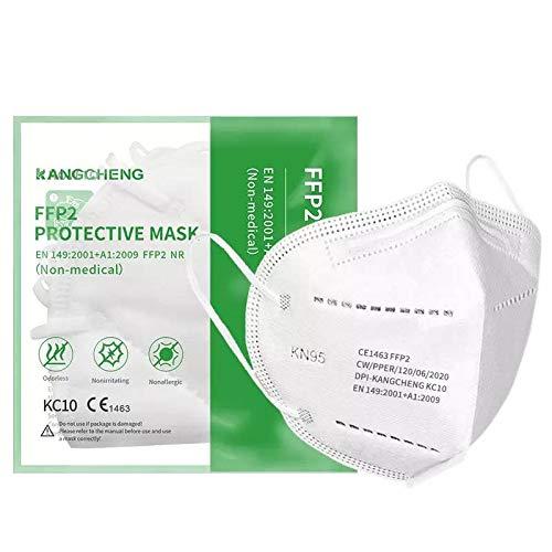 Confezione da 10 Mascherine FFP2 KN95 Kangcheng Medical. Singolarmente Sigillate. Protezioni respiratorie monouso, certificate CE, filtrazione multistrato.
