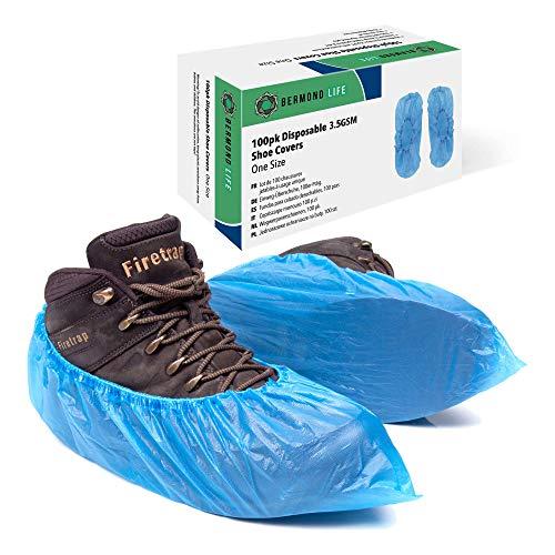 Copriscarpe in plastica Bermond Life, confezione da 100 robusti copriscarpe usa e getta con scatola portaoggetti, copriscarpe per pavimenti