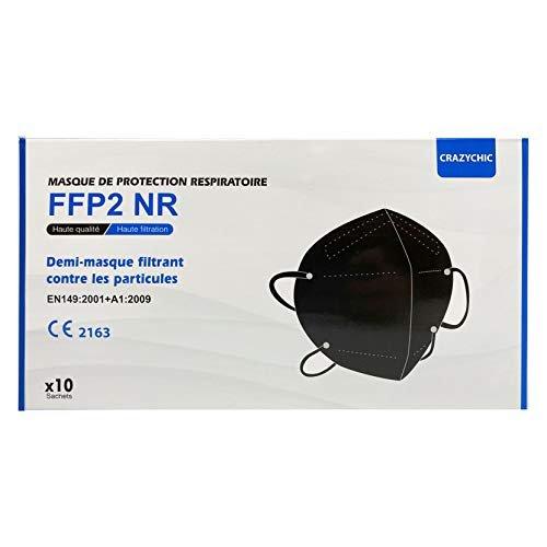 CRAZYCHIC - Mascherine FFP2 Nere Certificata CE EN149 - Maschera di Protezione Antiparticolato - 5 Strati Alta Filtrazione - Mascherine Antipolvere - 10 Pezzi
