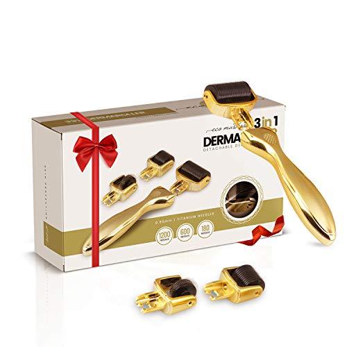 Derma Roller Kit (3 in 1) - Dermaroller Viso, Corpo con Micro Aghi 0.5mm in Titanio + 3 Testine da 180/600/1200 Aghi - Cicatrici, Rughe, Smagliature, Capelli - Kit Bellezza Donna e Uomo Professionale