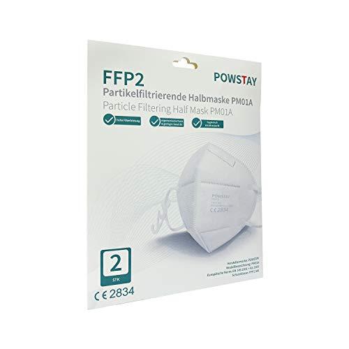 EasyCHEE Powstay PM01A Maschera di protezione antiparticolato FFP2 NR, CE 2834, filtrazione a 5 strati, 2 pezzi