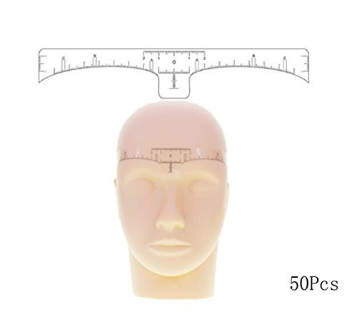 Erioctry - Righello adesivo per sopracciglia, guida per microblading, accessorio per il trucco, 50pezzi monouso