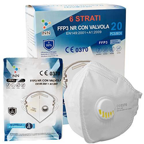 Eurocali 20 Pezzi Mascherine FFP3 con Valvola Certificate CE Mascherina 6 Strati Confezionate Singole Filtraggio ≥99% con Morbidi Elastici