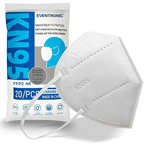 Eventronic 20 pezzi mascherine FFP2/KN95, design antipolvere, protettivo e confortevole, forniscono il miglior effetto filtrante, prevenzione e protezione