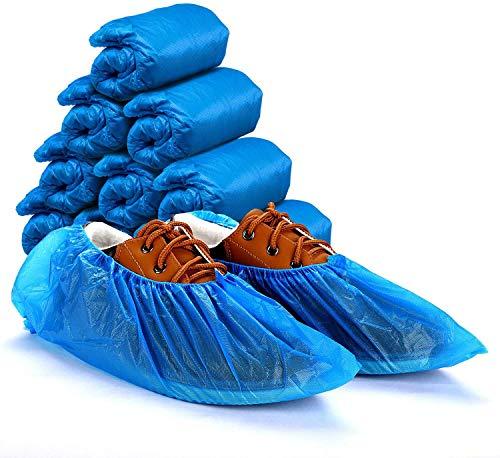 Ezlife Copriscarpe Monouso Protezione, 100 Pezzi Impermeabile Antiscivolo Copriscarpe in Plastica CPE Extra Resistente Scarpa Monouso Adatto per la Maggior Parte