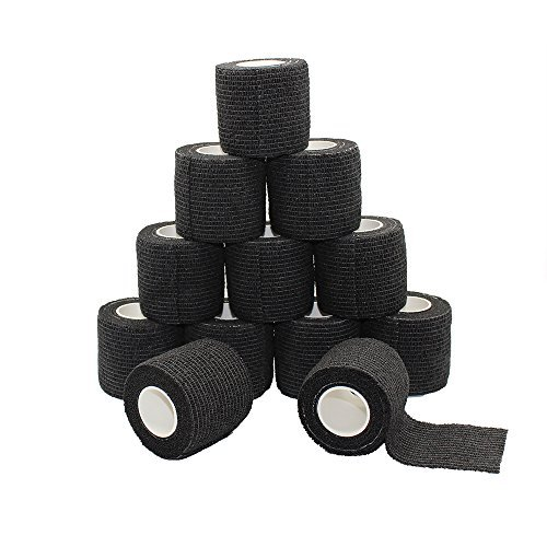Fuluning, 12-pack, 5,1 cm x 4,6 m, self-adherent Cohesive tape, Strong nastro sportivo per polsi, caviglie, slogature e gonfiore, benda autoadesiva rotoli di nastro, atletica, colore nero