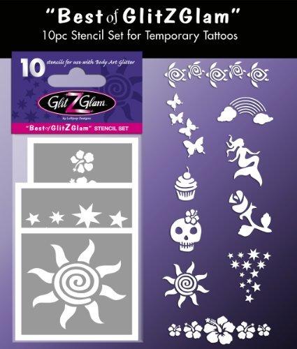 GlitZGlam Set di Stencil per Tatuaggi Temporanei: Best of Tatuaggi per Bambini, Adolescenti & Adulti