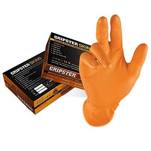 Gocableties Guanti usa e getta in nitrile extra resistenti, confezione da 50, 25 paia, Nitrile, Arancione, Large / Size 9