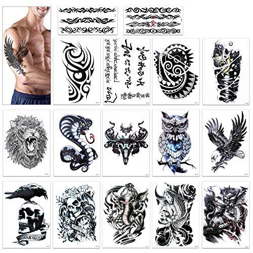 Grande tatuaggi temporanei, Konsait Tatuaggio Temporaneo tattoo Sleeve braccio spalla Adesivi Temporanei Rimovibili Tatuaggi adesivi corpo per adulti uomo donne Leone, cranio morto, Aquila (16 fogli)